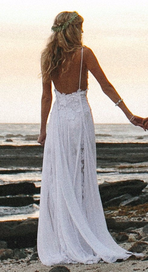 Spaghetti Straps Beach Wedding Dresses Chiffon Bridal Gowns Spaghetti Straps Wedding Gown 4