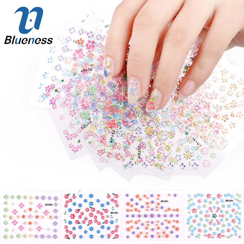 Blueness 24Pcs/Lot Beauty Flowers Design Nail Stickers 3D Nail Art Decorations Glitter Manicure Diy Tools For Charms Nails JH158 24pcs lot 3d nail stickers beauty summer styles design nail art charms manicure bronzing vintage decals decorations tools jh151