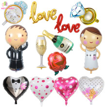 HEY FUNNY 3 pcs/set mini bride&bridegroom Balloons Heart Balloons for Marriage Decoration Ring Love Balloon for Romantic Wedding