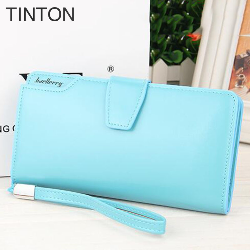 TINTON 2018 new fashion womens solid color purse PU leather long simple personality simple clutch generous coin purse card bit