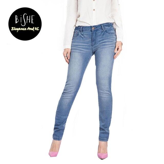 4fce91dbe BiSHE de Mezclilla Skinny Jeans Para Mujeres Pantalones Lápiz Pantalones  Femeninos Azul más el Tamaño 38