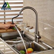 Deck Montieren Nickel Gebürstet Pull Down/out Kitchen Sink Mixer Wasserhahn Einzigen Griff Küche Heiß Kalt Wasserhahn