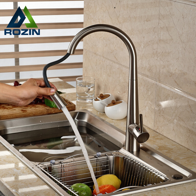 Deck Mount Brushed Nickel Pull Down/out Kitchen Sink Mixer Faucet Single Handle Kitchen Hot Cold Water Tap
