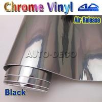 Quality Guarantee Black Mirror Chrome Vinyl Car Wrap Film Color Change Sticker Sheet With Air Bubble Free 30m/roll