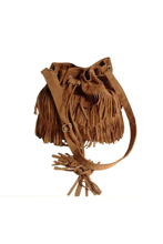 Wholesale 10*Women Vintage Shoulder Bag Fringe Tassel Drawstring Bucket Bag Messenger Handbag brown