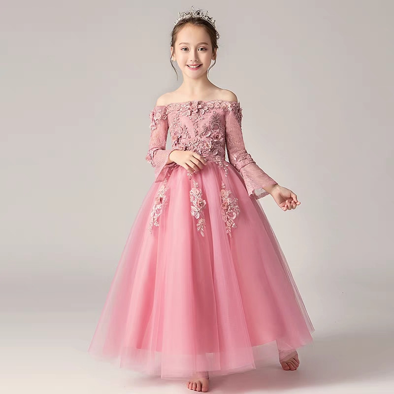High-end Girls Children Birthday Wedding Party Flowers Princess Lace Dress Clothes Teens Kids Evening Party Dresses 3~15years lace high low swing evening party dress