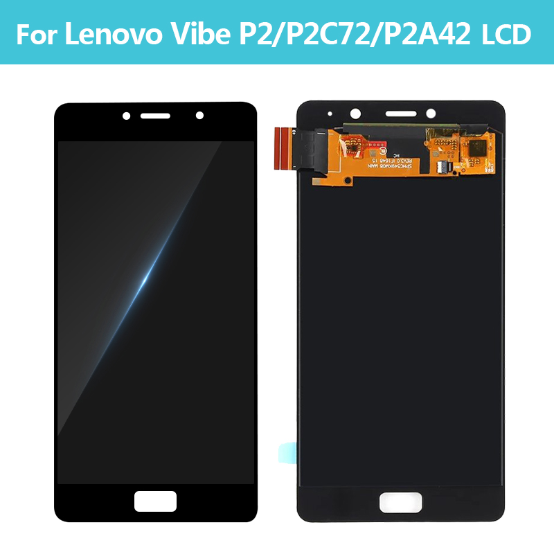 5.5 Original Para Lenovo Vibe P2 Display LCD de Toque Digitador Da Tela Com Moldura Para Lenovo P2 P2c72 P2a42 Exibição peças de montagem - 4