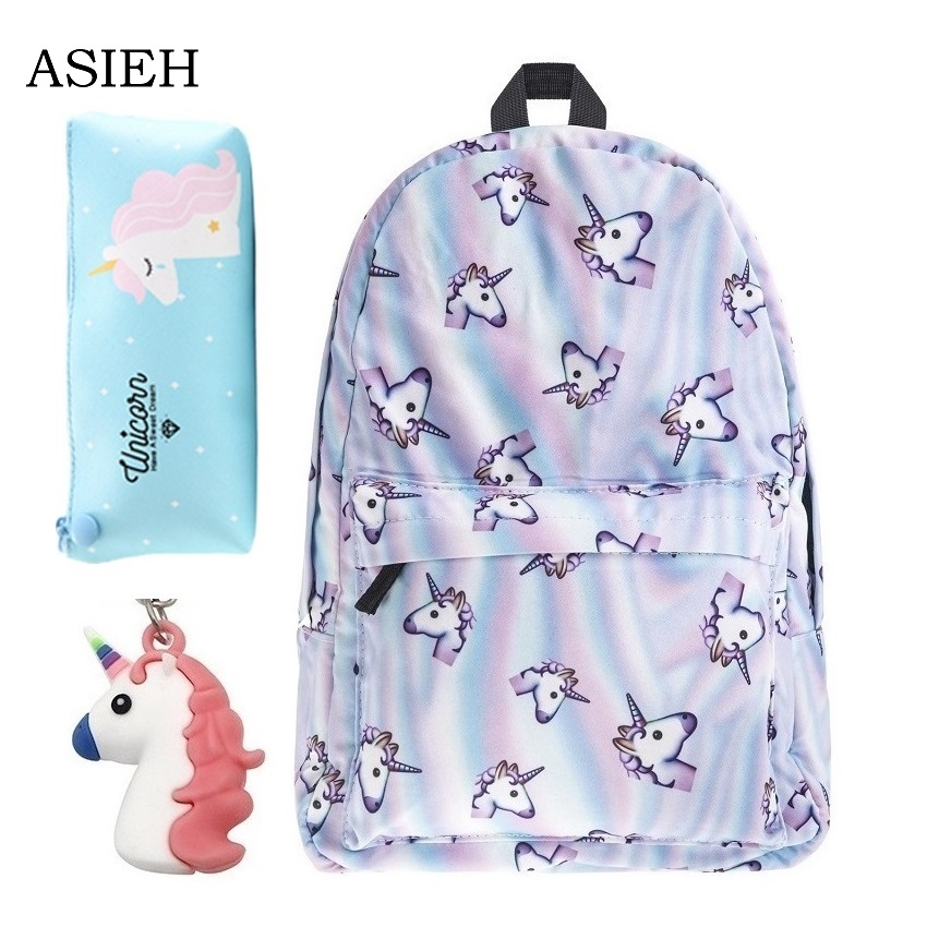 Hot Unicorn Backpack Fashion University Style Schoolbag Women's Waterproof Backpack Pineapple Backpack Gudetama Backpack