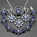 Silver Color Jewelry Sets For Women Dark Blue Created Sapphire Necklace Pendant Bracelets Earrings Rings Christmas Gift Free Box