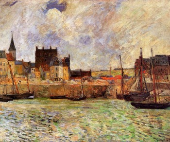 High quality Oil painting Canvas Reproductions Harbour Scene, Dieppe (1883) by Paul Gauguin hand painted