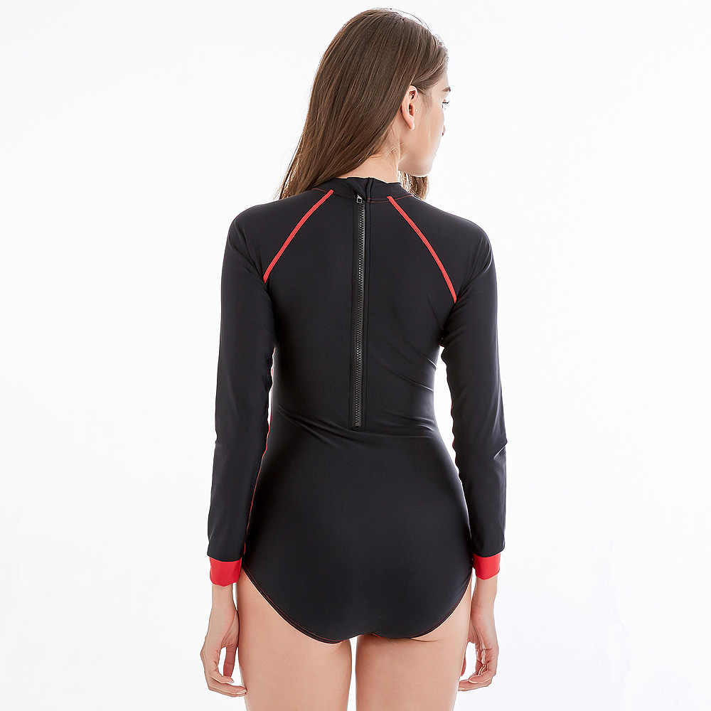 Profesional Baju Renang Wanita One Piece Lengan Panjang Swimsuit Striped Elastis XXXXL Seksi Berenang Kebugaran Wanita Sunscreen K Berlaku