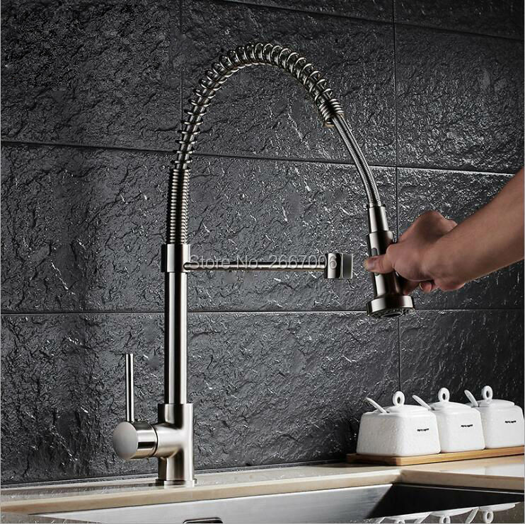 Free shipping High Quality Brushed Nickle Brass Spring Kitchen Faucet Two Spouts Pull Out Deck Mounted Mixer Faucet Tap ZR660 free shipping low price promotion brushed nickle solid brass spring kitchen faucet two spouts pull deck mount mixer faucet zr659