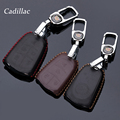 Genuine Leather Car Keychain Key Fob Case Cover for Cadillac CT6 SRX ATSL XTS XT5  SLS 4/5 Button Smart Key Holder Accessories