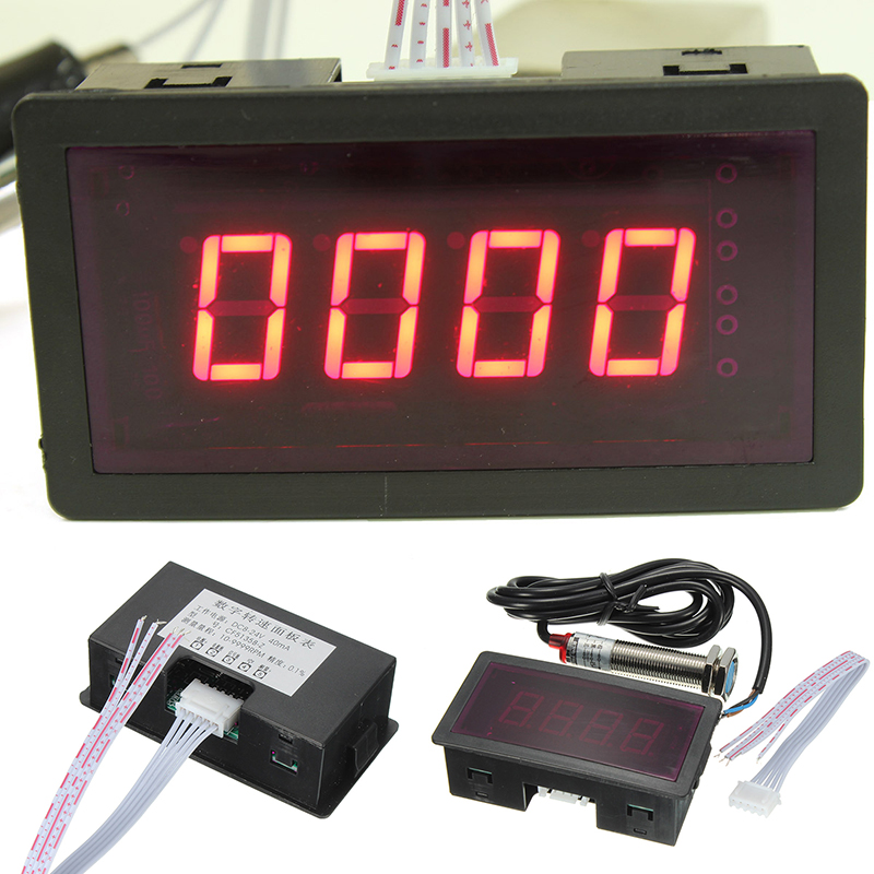 Red 4 Digital LED Tachometer RPM Speed Meter + NPN 5 Wires Normally Open Hall Proximity Switch Sensor DC 8-24V Mayitr цены