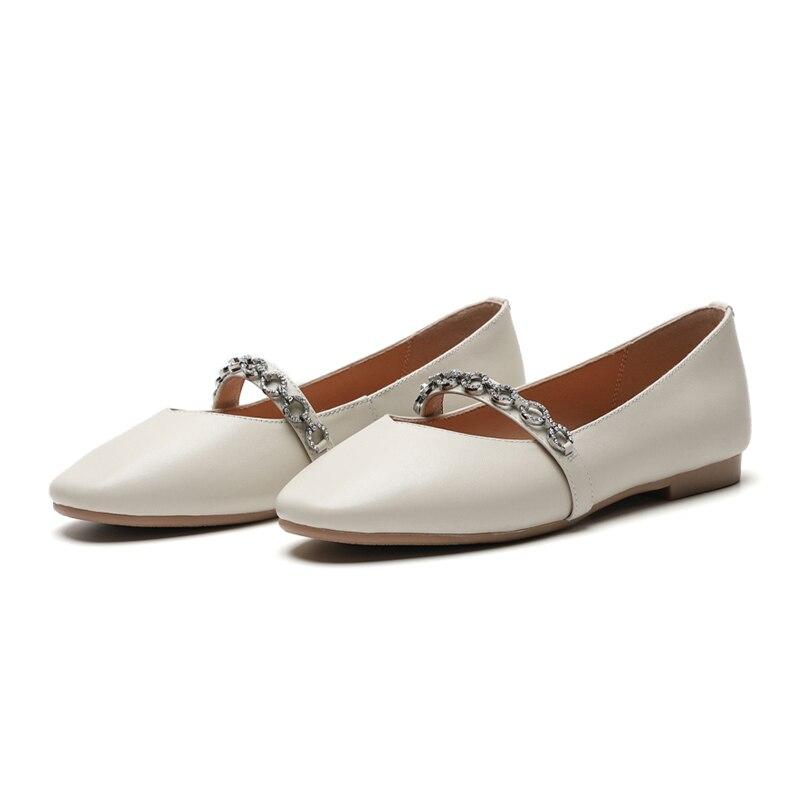 Fashion Punta Female Crystal Sweet Wetkiss Black Spring New Flat Casual Albicocca Flats quadrata Girl Women 2019 Shoes Beige Leather 8vt8qw4xX