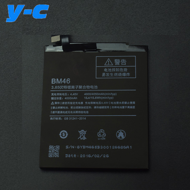 BM46 Battery For Xiaomi Redmi Note 3 100% New 4000mAh Battery Replacement For Xiaomi redmi Note 3 pro/ Note 3 Prime