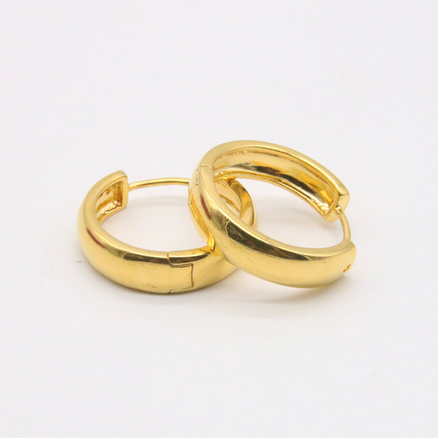 Gold Color Thick Small Hoop Earrings Yellow Filled Women Jewelry Minimalist Circle Round Huggie Earring