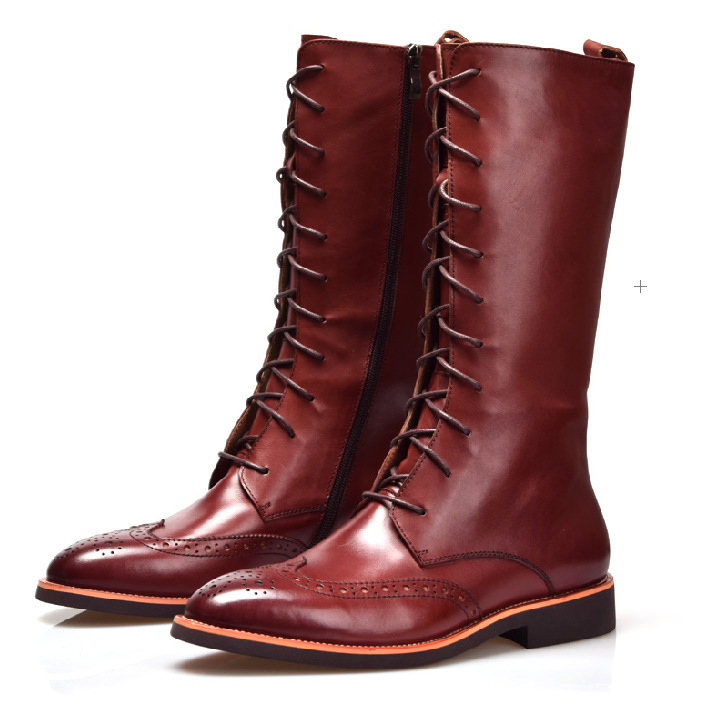 Fashion british style Brown tan / Black knee high mens boots genuine leather mens winter boots outdoor casual shoes