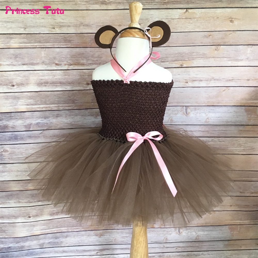 Brown Monkey Tutu Dress with Headband Tail Children Dress Up Animal Costume for Kids Girls Performance Halloween Party Dresses halloween cosplay dress black cat girl costume children kids performance clothes girls carnival tutu mesh kitty dress with tail