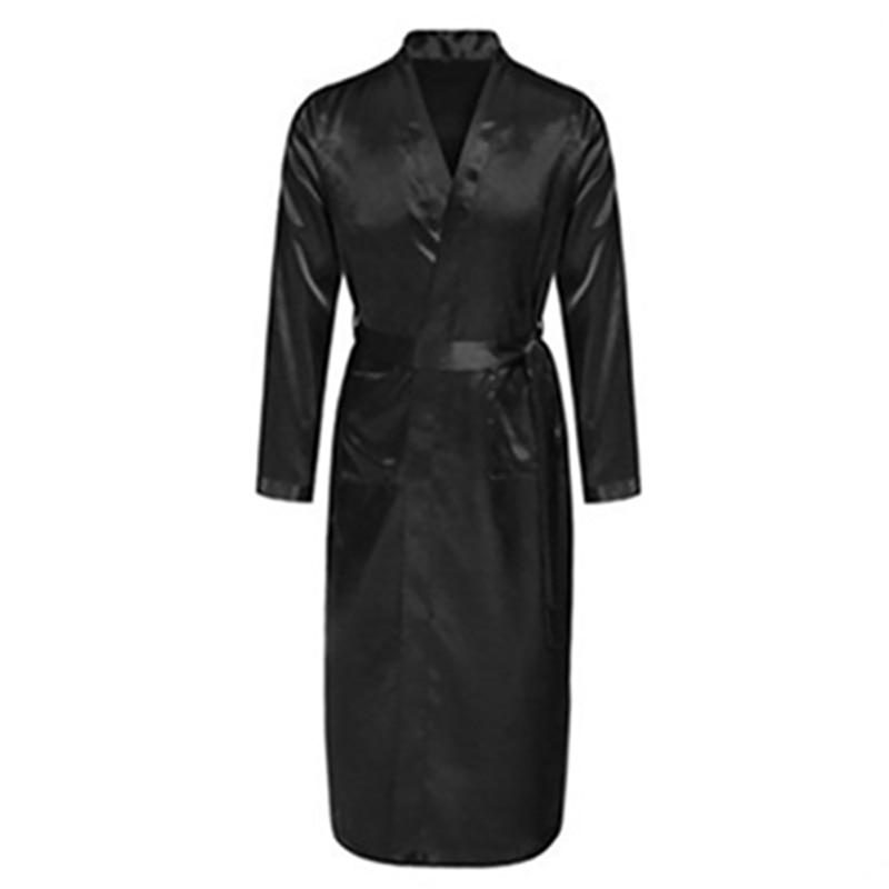 Men's Silk Satin Bathrobe Robe Long Solid Silk Pajamas Men Silk Nightgown Sleepwear Kimono Homme Dressing Gown