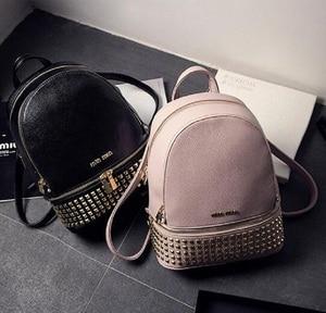 Image 4 - Women PU Leather waterproof mini travel Backpack for Girl School hand Bag High Quality Ladies small Bag Designer evening Bolsas