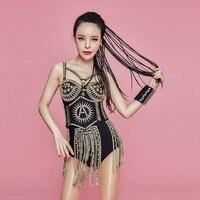 Женская одежда для певцов блестящие стразы кисточкой Черный боди сексуальный наряд для ночного клуба танцевальная команда женский DJ костю