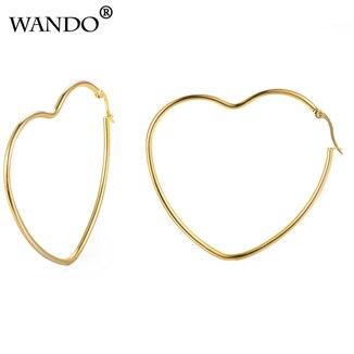 931a108c7df0  Marca WANDO color dorado popular ahueca hacia fuera el Corazón dorado en  el amor mujeres pendientes etíope joyería al por mayor e33  Piedra  principal.