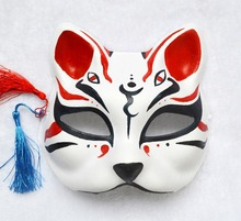 цена на Half Face Hand-Painted Japanese Style Fox Mask Kitsune Cosplay Masquerade 4 Eyes for Party Halloween