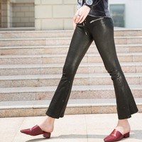 Brand Fashion Women Sexy Lace Up Skinny Wide Leg Pants 100% Sheepskin Genuine Leather Stretch Flared Trousers Lady Gothic Pants