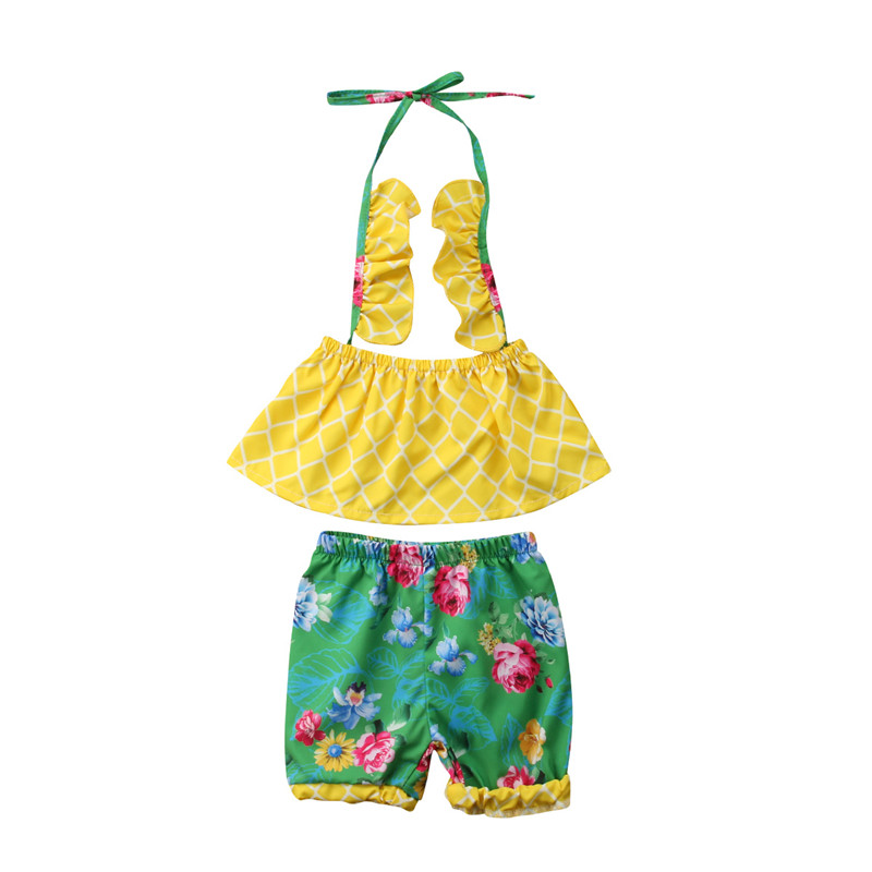 Newborn Baby Girls Clothes Set New 2018 Infant Kids Girls Halter Printed Crop Tops+Floral Shorts Pants Cute Baby Clothes Outfits