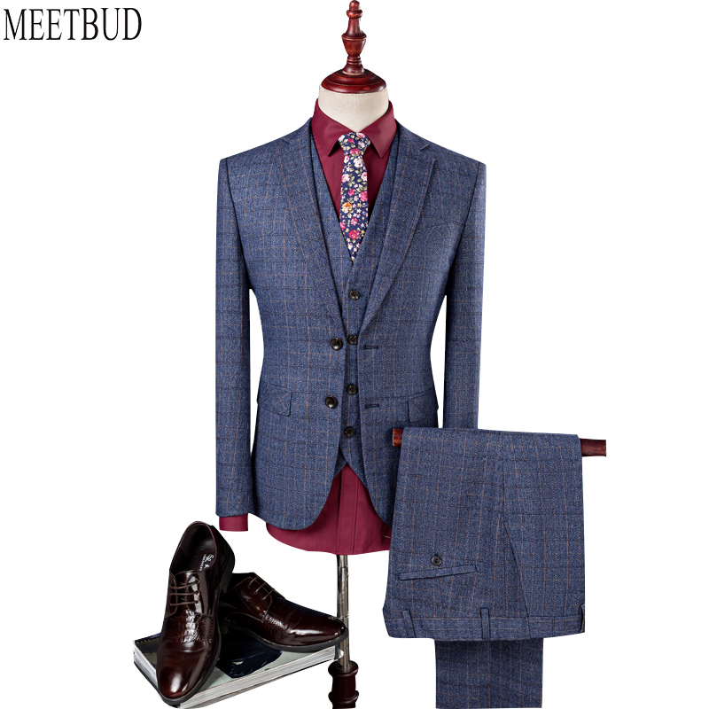 MEETBUD Fashion brand men suit for wedding business casual slim fit party host prom blue men suits dress (jacket+pants+vest)