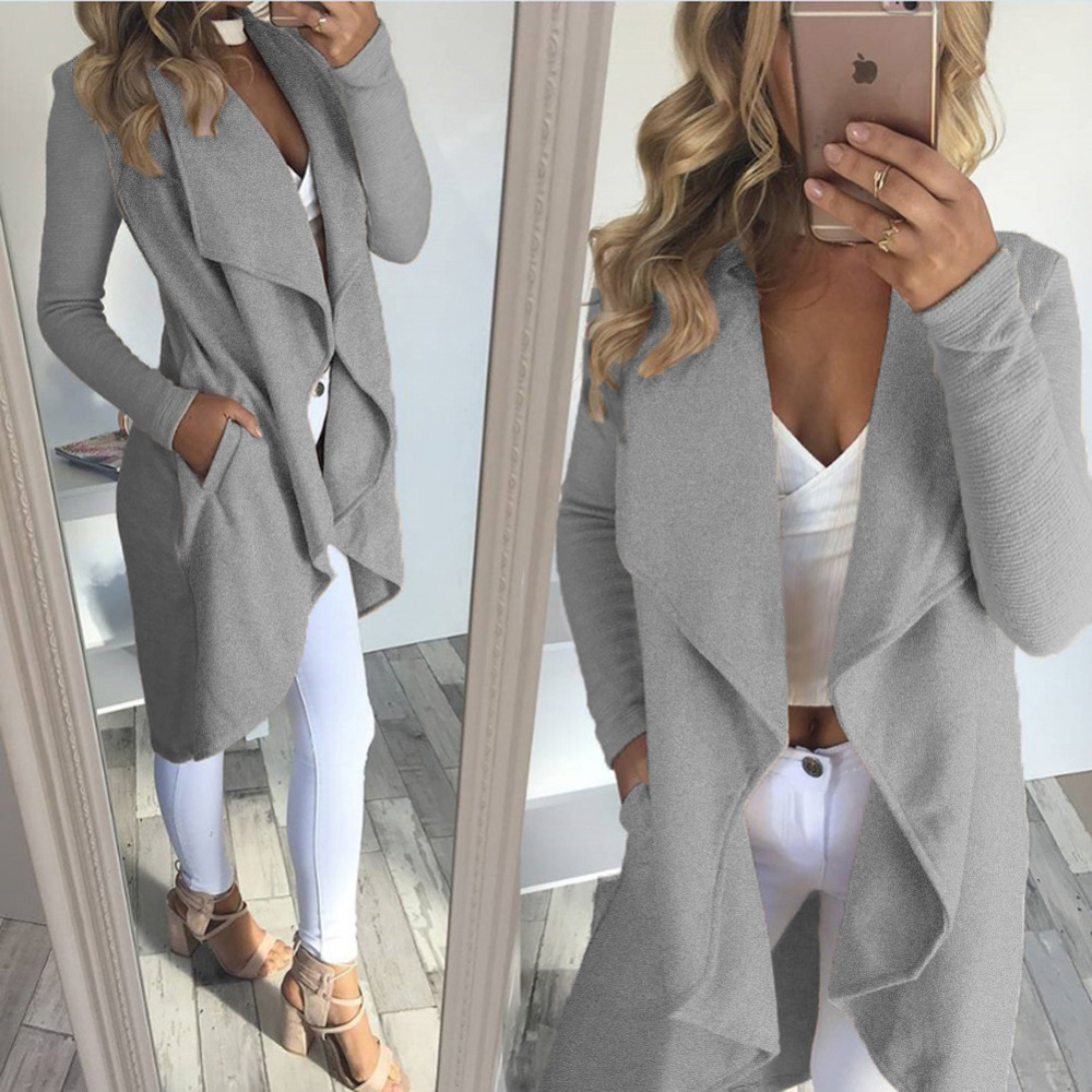 2018 Fashion Apricot Wool Coat Long Sleeve Irregular Winter Coats Women Elegant Solid Long Outwear Slim Autumn Cardigans Woman