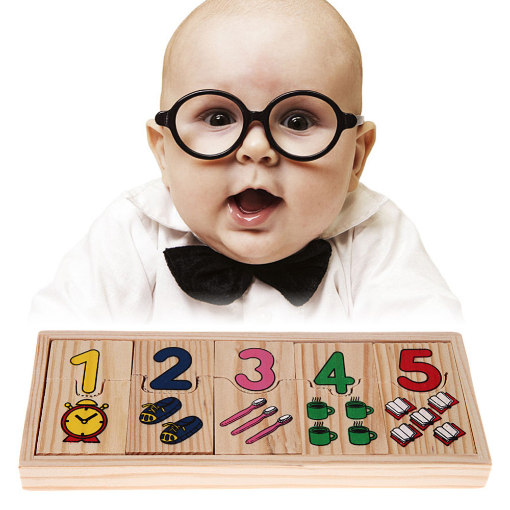 1Set Wooden Number Counting Puzzle Toy Educational Preschool Baby Math Learning Pattern Numbers Matching Jigsaw Puzzle Toy