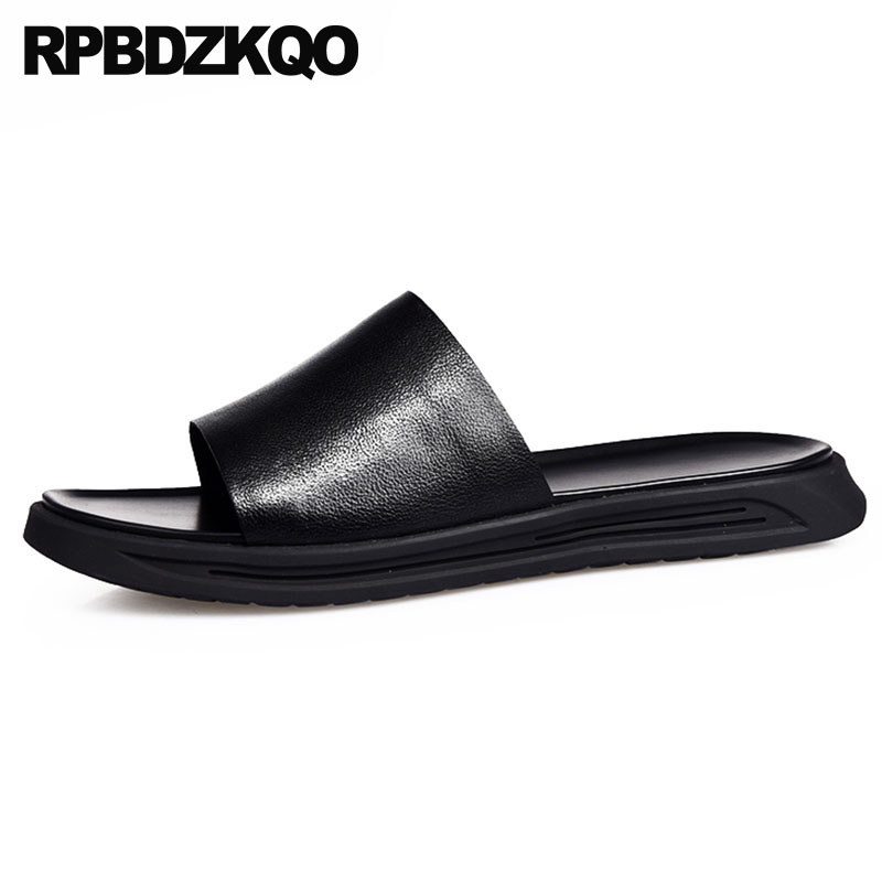 Cuero Playa Hombre Casual Zapatillas Sandalias Verano 2018 Respirable Diseñador Negro Ponerse Agua Runway Zapatos Impermeable Diapositivas xxf6wUqv