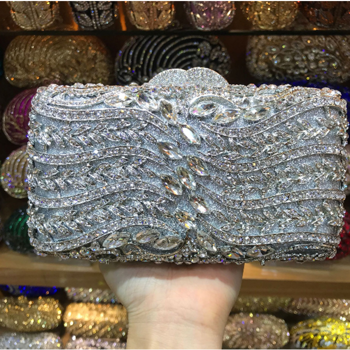 XIYUAN BRADN Crystal Diamond evening bags Women Evening Cocktail Wedding Handbags Clutch Hard Metal Clutches Shoulder Bag purse все цены