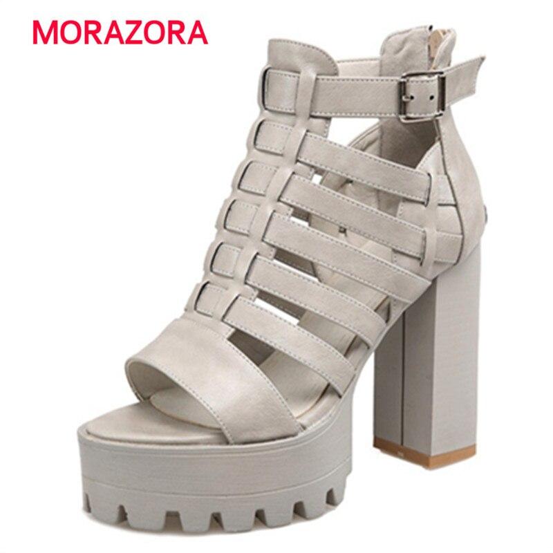 MORAZORA Zipper PU platform shoes in summer solid fashion roman high heels shoes sandals women party big size 34-42 корзина kesper 29 см х 23 см х 9 5 см