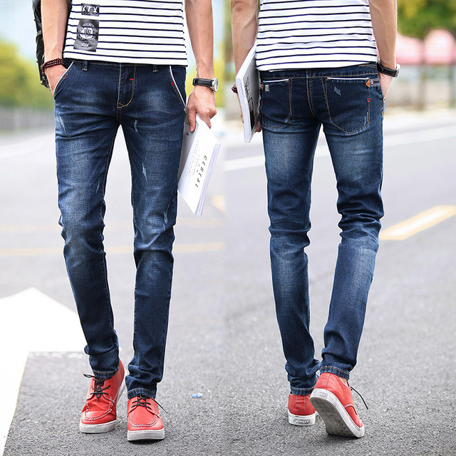 2018 New Fashion Mens Dark Blue Skinny Jeans Denim Joggers Brand Designer Men Trousers