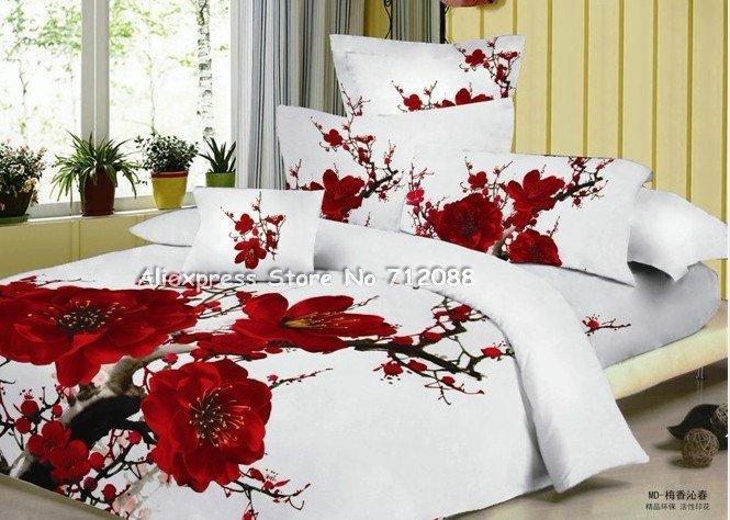 Premium Cotton Fabric 4 Pcs Queen Bedding Sets Red Plum