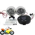 Motorcycle Handlebar Speaker TF FM Radio MP3 Player Motorbike Stereo Amplifier Sound System Chrome Black