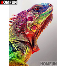 цена на HOMFUN 5D DIY Diamond Painting Full Square/Round Drill Animal chameleon Embroidery Cross Stitch gift Home Decor Gift A08049