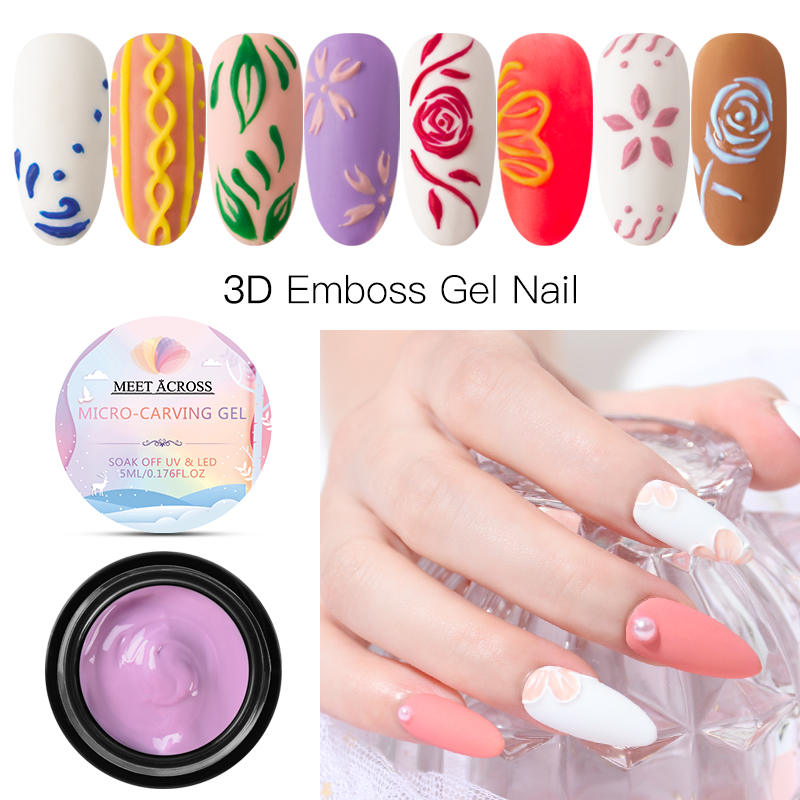 MEET ACROSS 3D Emboss Carving Painting Gel 5ml Micro-carving Nail UV LED Lacquer Soak Off Art Polish Varnish