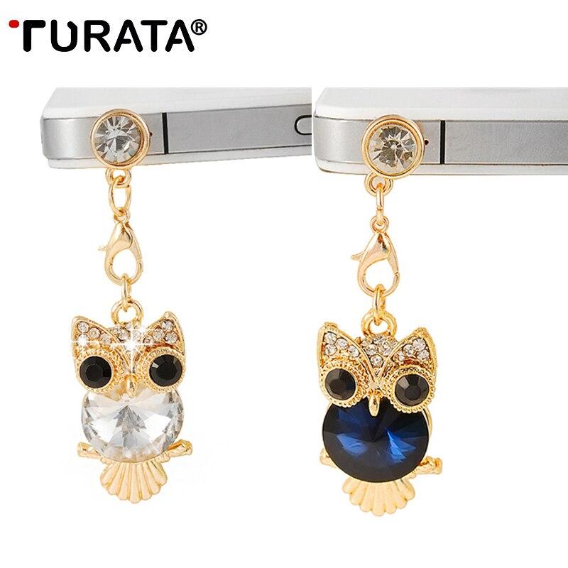 Turata Telephone Mobile Phone Dust Plug Earphone Jack Plugs Suitable For All 3.5mm Headphone Plug Studs Phone Big Eye Owl Cellphones & Telecommunications Mobile Phone Accessories
