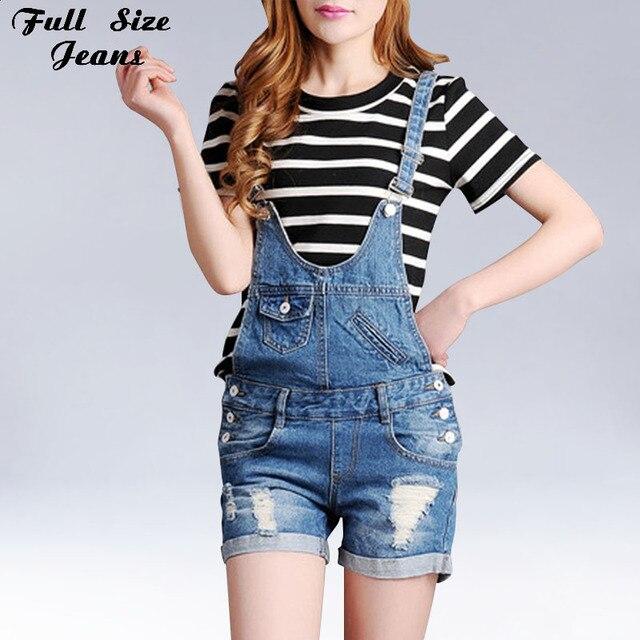 2914250e50d Summer Blue Combinaison Short Femme Combishort Plus Size Denim Jumpsuit  Retro Ripped Shorts Jeans Frayed Hem Overalls XS 4Xl 7Xl