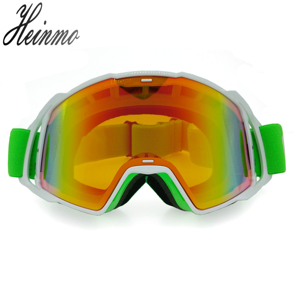 Tinted UV Stripe Motorcycle Goggles Motocross Bike Cross Country Flexible Goggles Eyewear Orange Lens