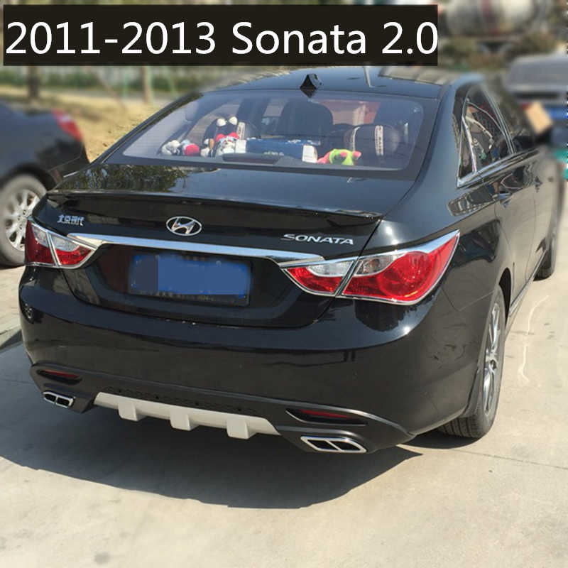 For Hyundai Sonata Rear Spoiler Abs Rear Bumper Diffuser Bumpers Protector For Sonata Forte Body Kit Bumper Rear Lip 2011 2014