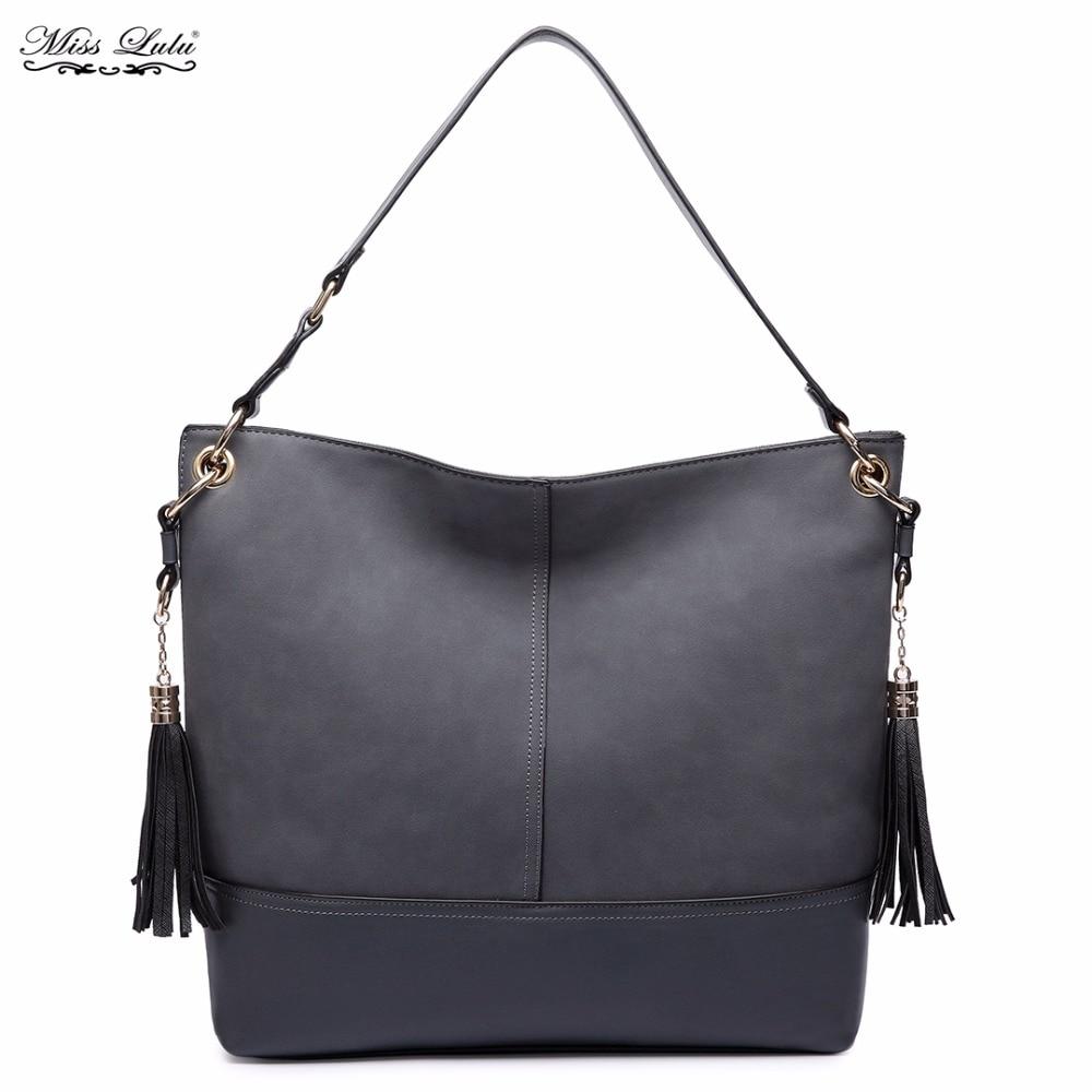 419f0c27e0 Miss Lulu Women Designer Luxury Frosted Leather Shoulder Bags Female Slouch  Hobo Tassel Handbag Tote Bolsa Feminina LT6616-in Shoulder Bags from Luggage  ...