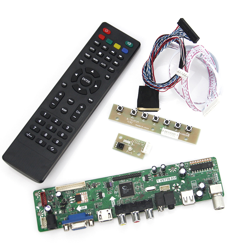 T.VST59.03 For B140XW01 V.8 LCD/LED Controller Driver Board (TV+HDMI+VGA+CVBS+USB) LVDS Reuse Laptop 1366x768 lcd led controller driver board for b156xw02 ltn156at02 t vst59 03 tv hdmi vga cvbs usb lvds reuse laptop 1366x768