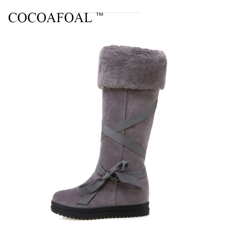 COCOAFOAL Women's Fashion Black Height Lncreasing Snow Boots Winter Platform Plus Size Snow Boots Green Gray Mid Calf Snow Boots