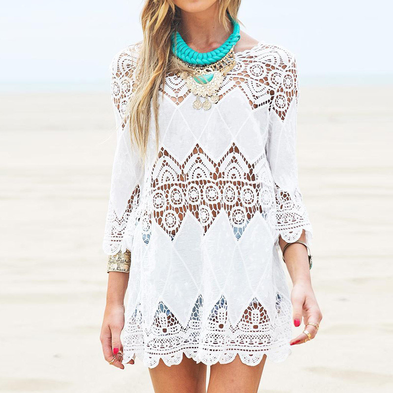 Beach Dress Half Sleeve O Neck Mini White Lace Floral Crochet Hollow Out Summer Women Dress