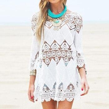 Beach Dress Half Sleeve O Neck Mini White Lace Floral Crochet Hollow Out Summer Women Dress